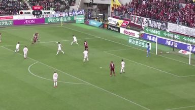 Iniesta falls over as Podolski scores!