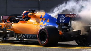 Sainz's McLaren goes up in smoke
