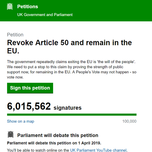 Brexit petition to revoke Article 50 hits 6 million signatures