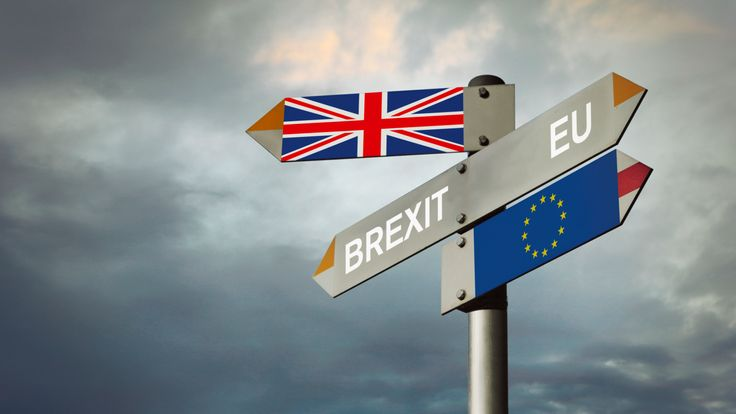 Brexit signpost - Stock image Directional Sign, UK, England, Europe, Brexit
