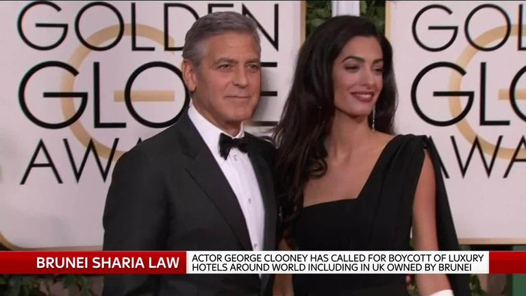George Clooney has called for a boycott of hotels with links to Brunei, where homosexual acts will be punishable by death.