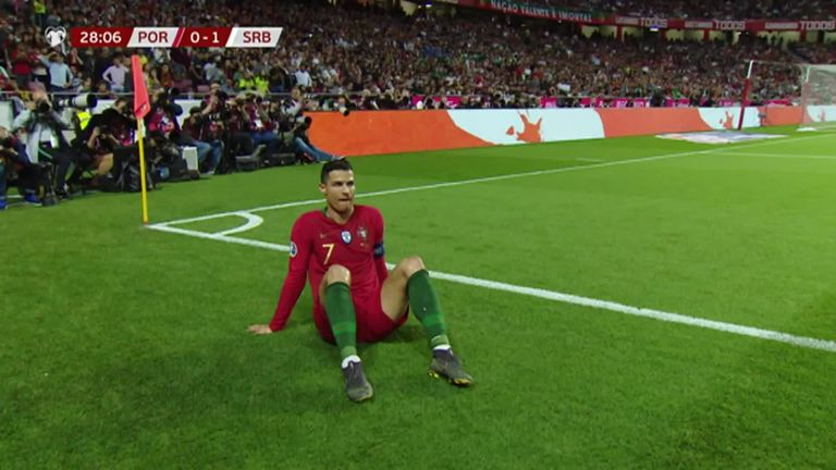 Cristiano Ronaldo forced off with injury playing for Portugal