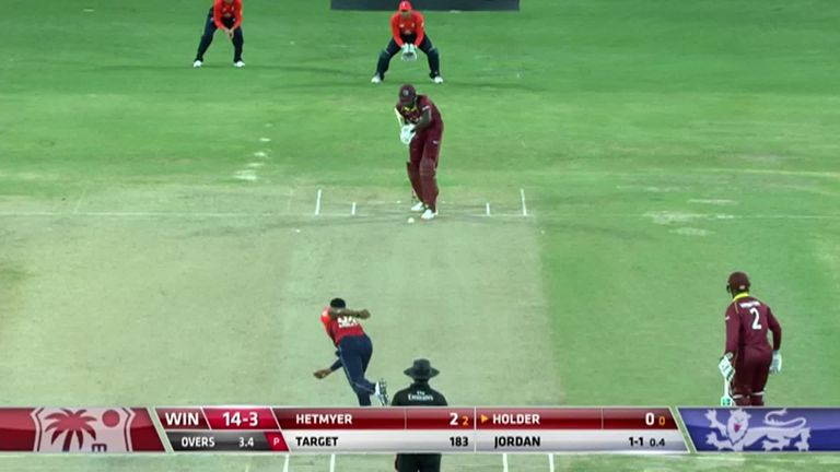 Jason Holder is dismissed for a duck to see Chris Jordan on a hat-trick