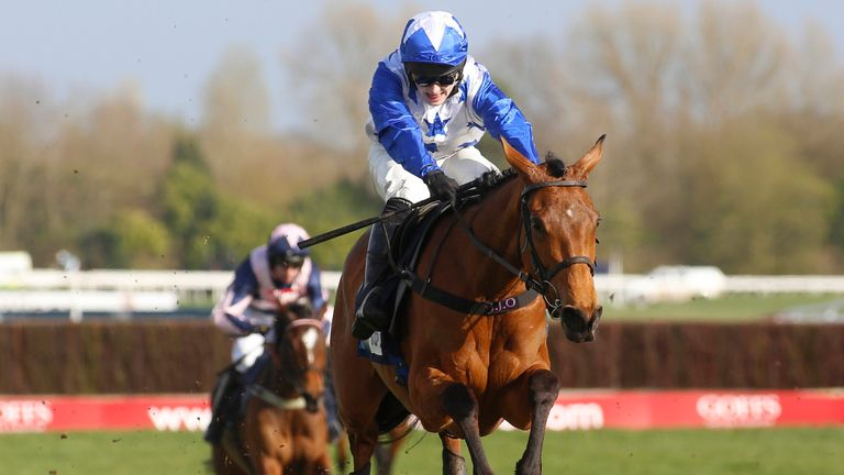 Annie Mc ridden by Jonjo O..Neill clear the last flight to go on and win The EBF & TBA Mares.. Novices Hurdle Race run during Be Wiser Jumps Season Finale Saturday at Newbury Racecourse, Newbury. PRESS ASSOCIATION Photo. Picture date: Saturday March 23, 2019. See PA story RACING Newbury. Photo credit should read: Julian Herbert/PA Wire.