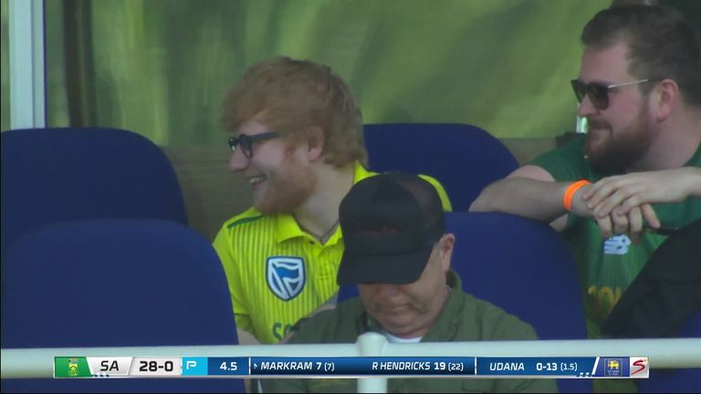 Ed Sheeran took time out from touring to don a South Africa shirt and watch the Proteas' third T20I against Sri Lanka in Johannesburg,