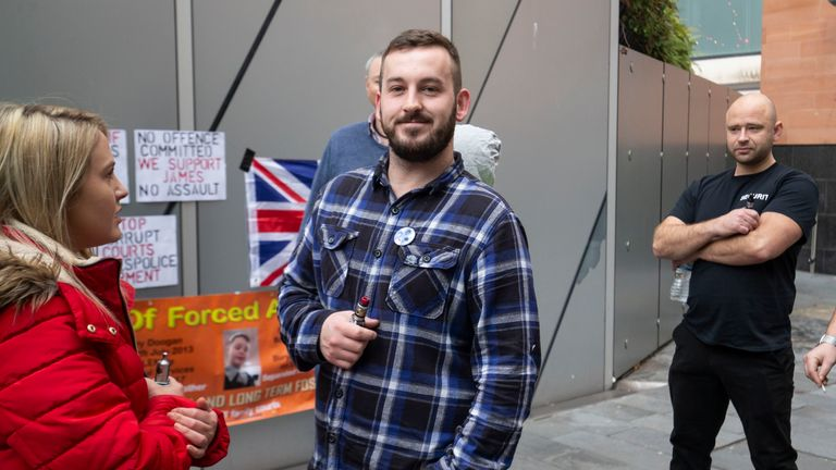 James Goddard outside Manchester Magistrates' Court