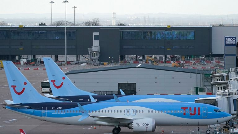 A TUI Boeing 737 MAX 8 at Manchester Airport after the planes were grounded