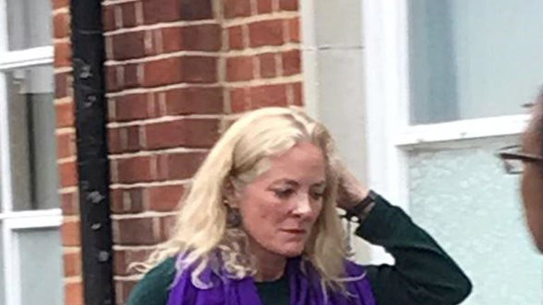 Simone Burns leaves Uxbridge Magistrates' Court after admitting a racist rant on a flight from India to London last November