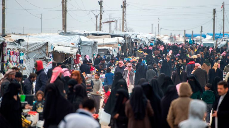 The camp is packed with tens of thousands of displaced people