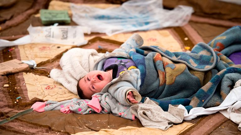 Many babies and children fled to the camp with their families as IS lost its territory