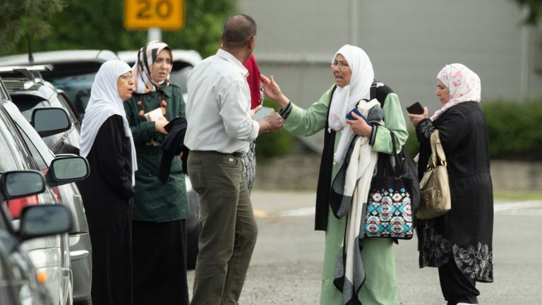 People outside the Al Noor mosque in Christchurch