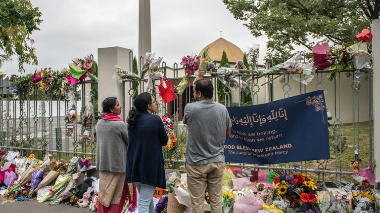 CHRISTCHURCH, NEW ZEALAND - MARCH 23: People gather outside Al Noor mosque after it was officially reopened following last weeks attack, on March 23, 2019 in Christchurch, New Zealand. 50 people were killed, and dozens were injured in Christchurch on Friday, March 15 when a gunman opened fire at the Al Noor and Linwood mosques. The attack is the worst mass shooting in New Zealand's history.  (Photo by Carl Court/Getty Images)
