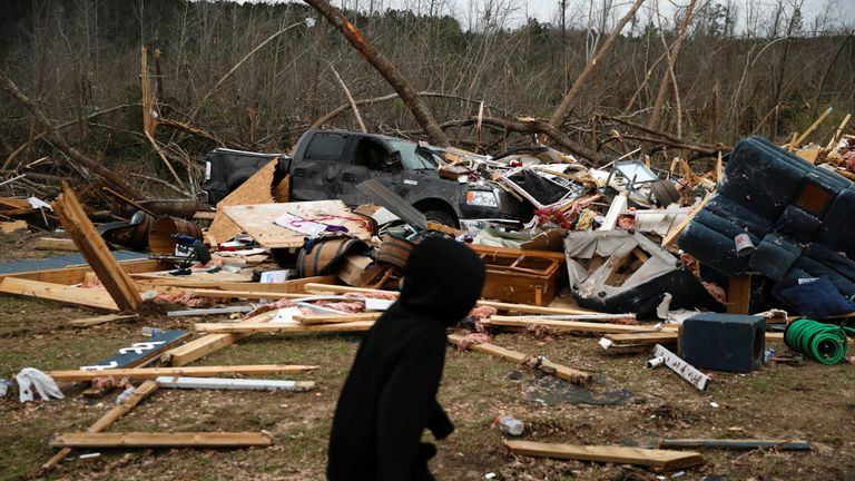The remains of a home following a string of tornadoes that resulted in several fatalities in Beauregard, Alabama