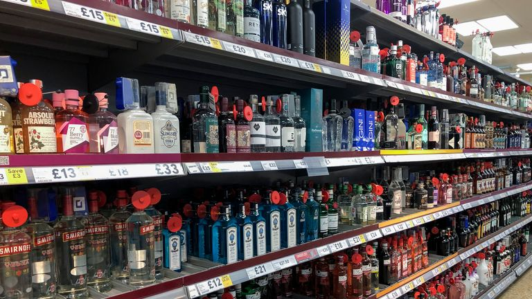 Wide range of alcohol for sale in a British supermarket.