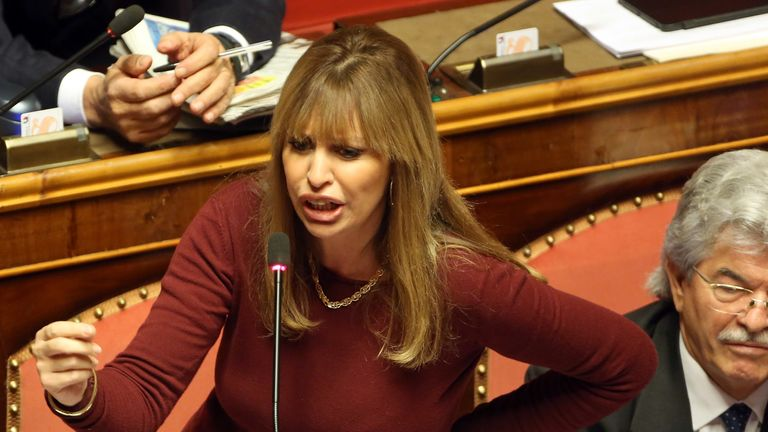 Benito Mussolini's granddaughter Alessandra Mussolini has publicly insulted Jim Carrey on Twitter