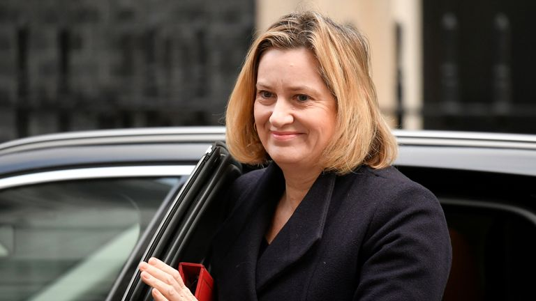 Secretary of State for Work and Pensions Amber Rudd outside Downing Street