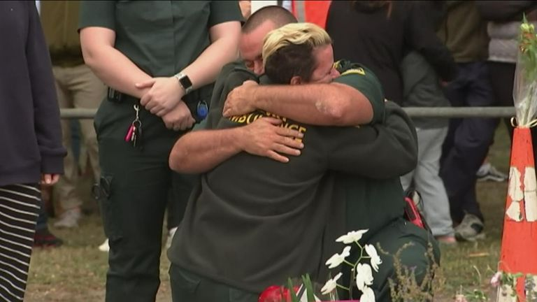 Emotional scenes among ambulance crews in New Zealand following mosque shootings
