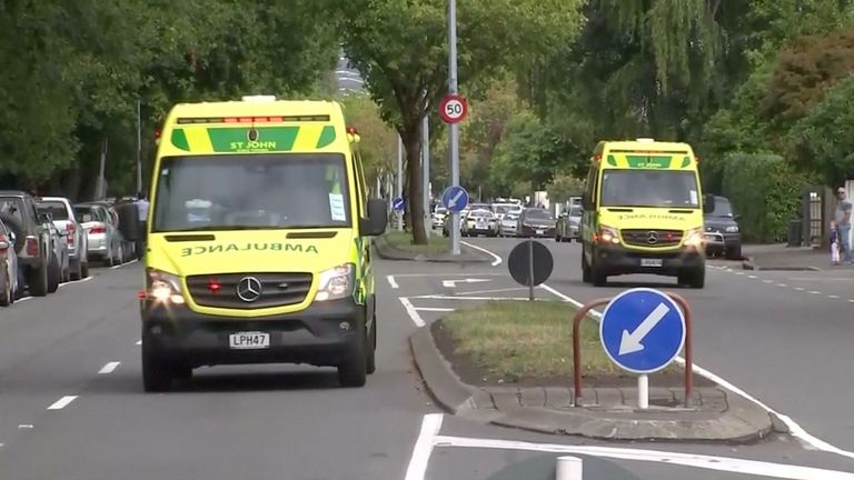 Ambulances rush to the scene of mass shootings in Christchurch