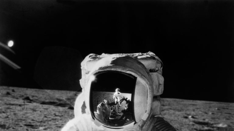 An astronaut from the Apollo 12 mission on the moon's surface
