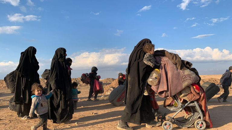 Many of the people leaving are family members of IS fighters