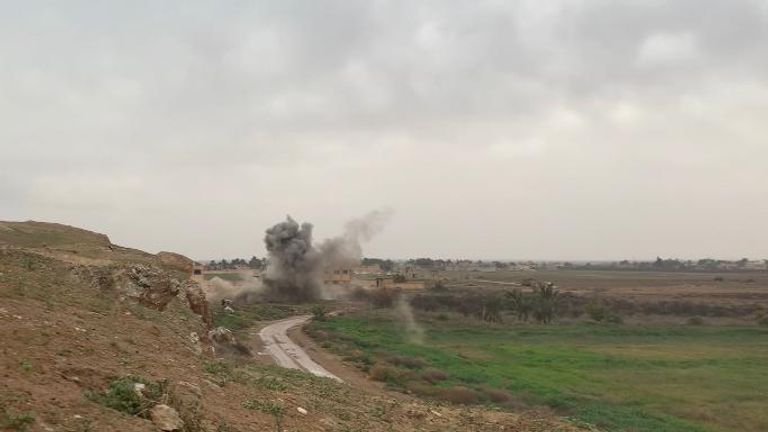 The area is still trapped with mines and bombs, which Syrian forces have been clearing