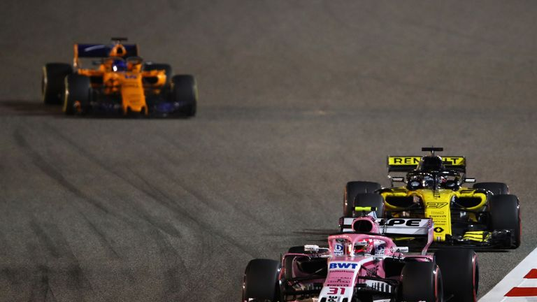 Esteban Ocon of France driving the (31) Sahara Force India F1 Team VJM11 Mercedes on track during the Bahrain Formula One Grand Prix at Bahrain International Circuit on April 8, 2018 in Bahrain, Bahrain