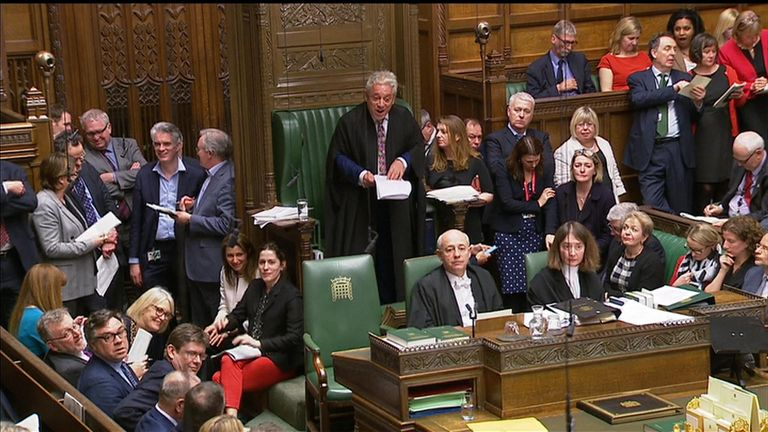John Bercow, Speaker of the House, speaks to parliamentarians after announcing the result of indicative voting.