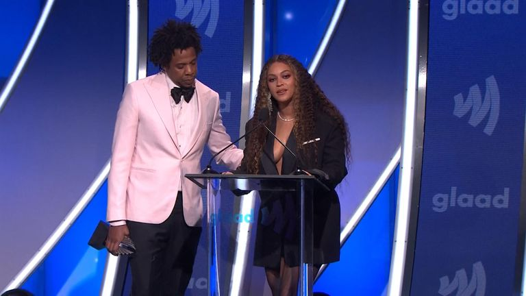 Beyonce accepts her gong at the GLAAD Awards