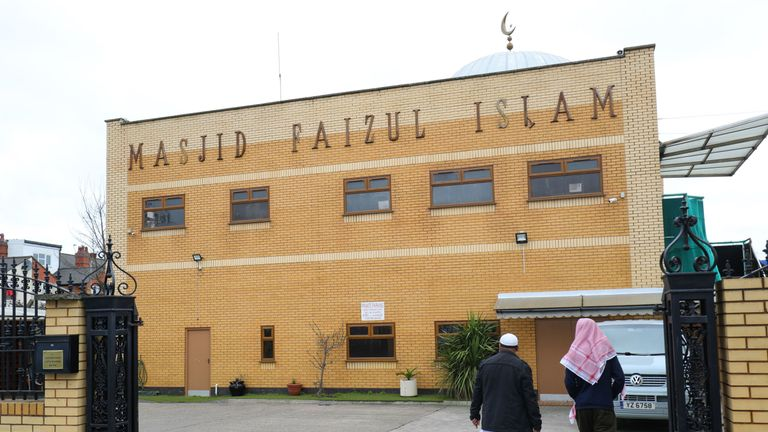 The Masjid Faizul Islam mosque on Witton Road, Birmingham which has had its windows smashed with a sledgehammer