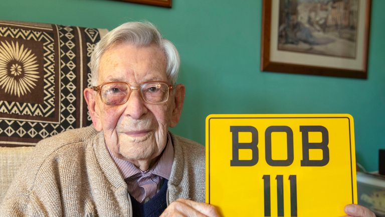 He has a customised number plate to mark his 111 years old today