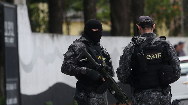 Policemen at the Raul Brasil school after a shooting in Suzano, Sao Paulo state, Brazil