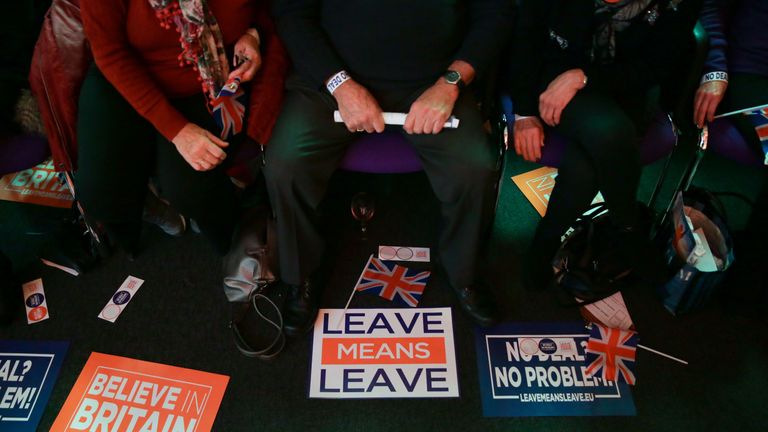Pro-Brexit group Leave Means Leave at a rally in central London
