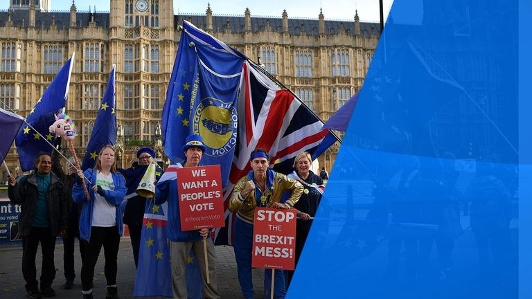 An anti-Brexit protest outside parliament