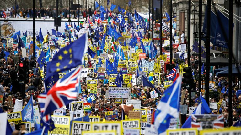 Tens of thousands of anti-Brexit campaigners are marching in London