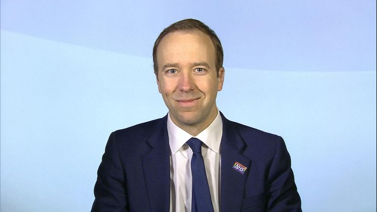 Health Secretary Matt Hancock talking in Millbank.