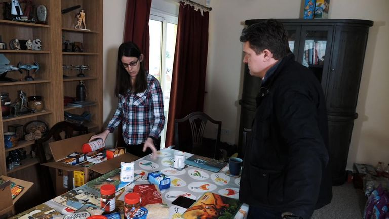 She's created boxes of food and supplies for her relatives too