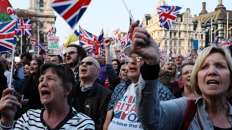 Protesters gathered on the day Britain was supposed to leave the EU