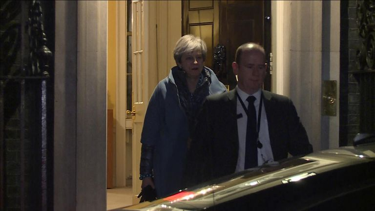 Theresa May leaving Number 10 to vote in the Commons