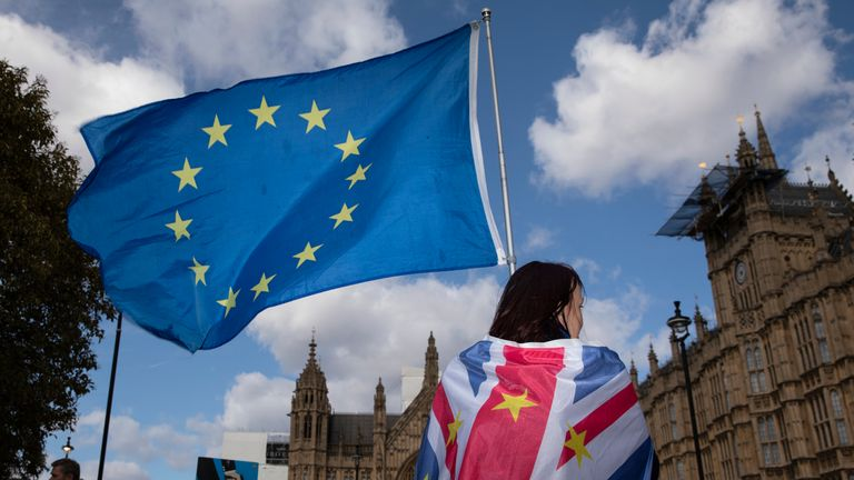 An anti Brexit protester stands with flags outside the Houses of Parliament in Westminster on March 11, 2019