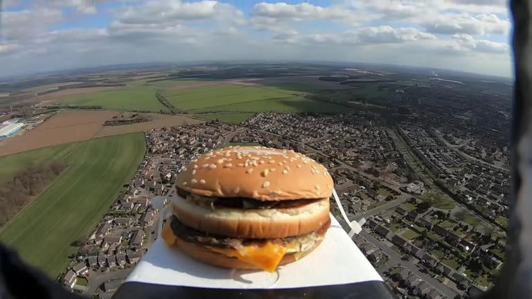 Burger sent into space. Pic: YouTube/Killem