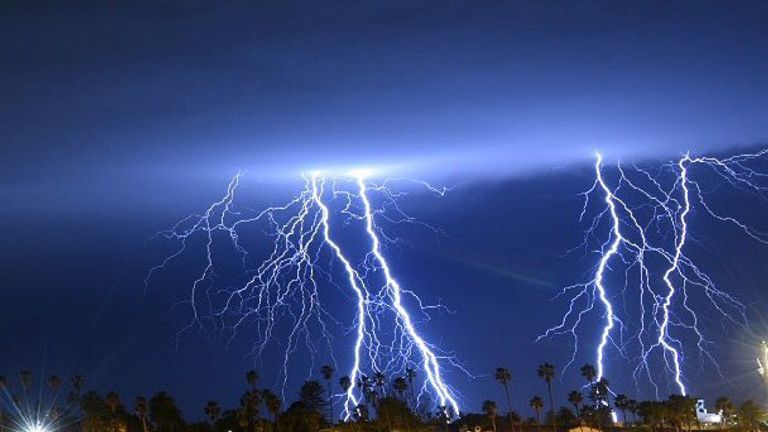 Lightning strikes in the sky above Santa Barbara