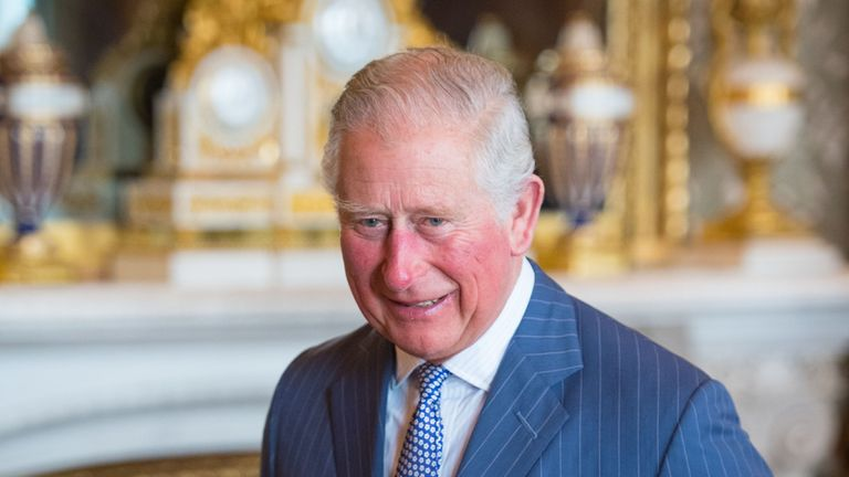 The Prince of Wales attends a reception at Buckingham Palace in London to mark the fiftieth anniversary of the investiture of the Prince of Wales.