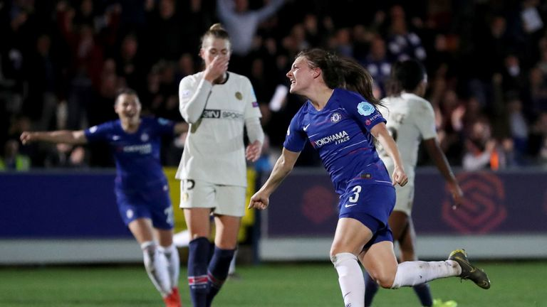 Chelsea Women's Hannah Blundell celebrates after she scores to make it 1-0 during the UEFA Women's Champions League quarter final first leg match at the Cherry Red Records Stadium, London. PRESS ASSOCIATION Photo. Picture date: Thursday March 21, 2019. See PA story SOCCER Chelsea Women. Photo credit should read: Bradley Collyer/PA Wire