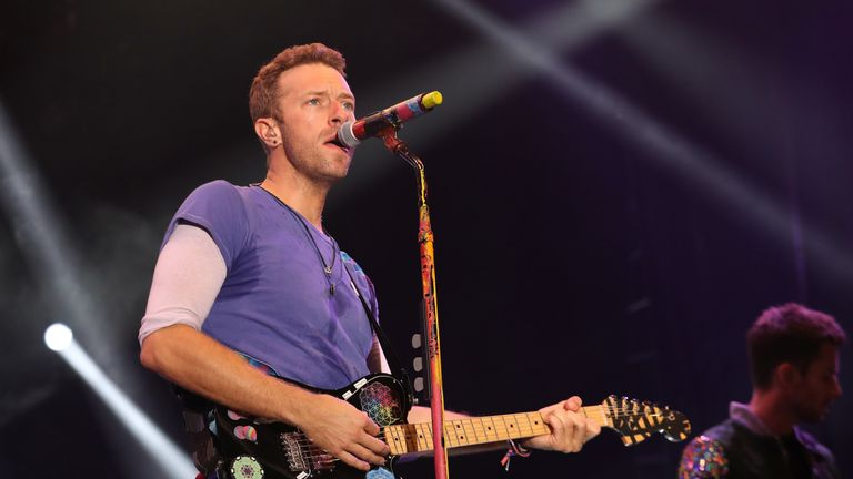 Chris Martin from Coldplay performs on stage during the Sentebale Concert at Kensington Palace on June 28, 2016 in London, England