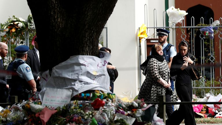 New Zealand's Prime Minister pays her respect outside Al-Noor mosque in Christchurch