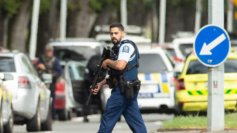 Armed police are out in force in Christchurch after the mass shootings that have left at least 40 dead