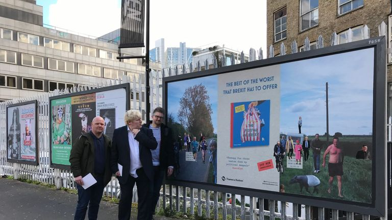 Coldwar Steve (Christopher Spencer) with Phil Mitchell and Boris Johnson lookalikes to promote his first book, The Festival Of Brexit