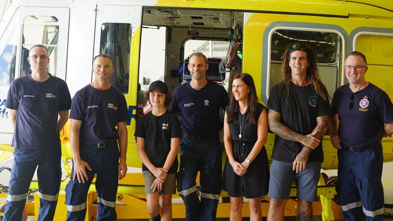 Conor reunited with the rescue crew. Pic: RACQ LifeFlight Rescue