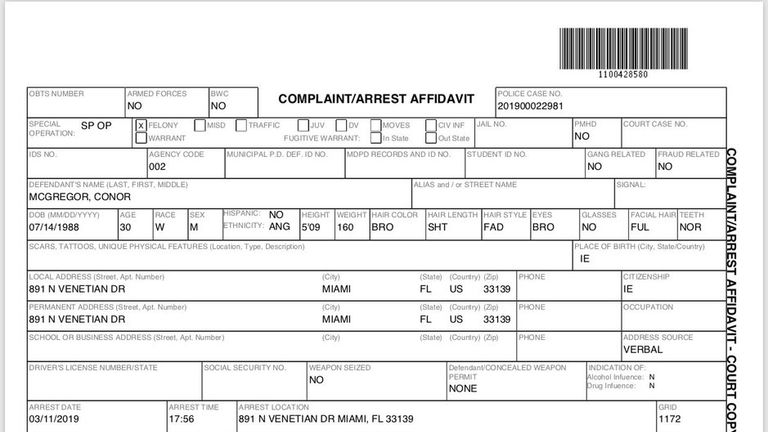 Conor McGregor's arrest details from Miami police