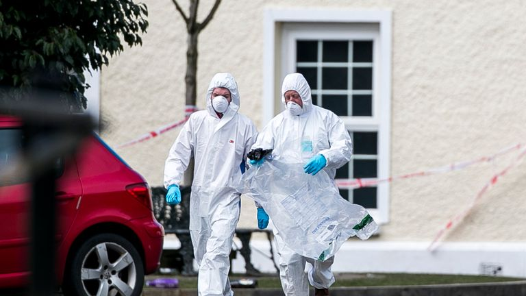Forensic officers outside the Greenvale Hotel in Cookstown